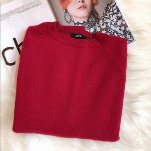 J Crew Red Lambswool Pullover Crewneck Sweater M